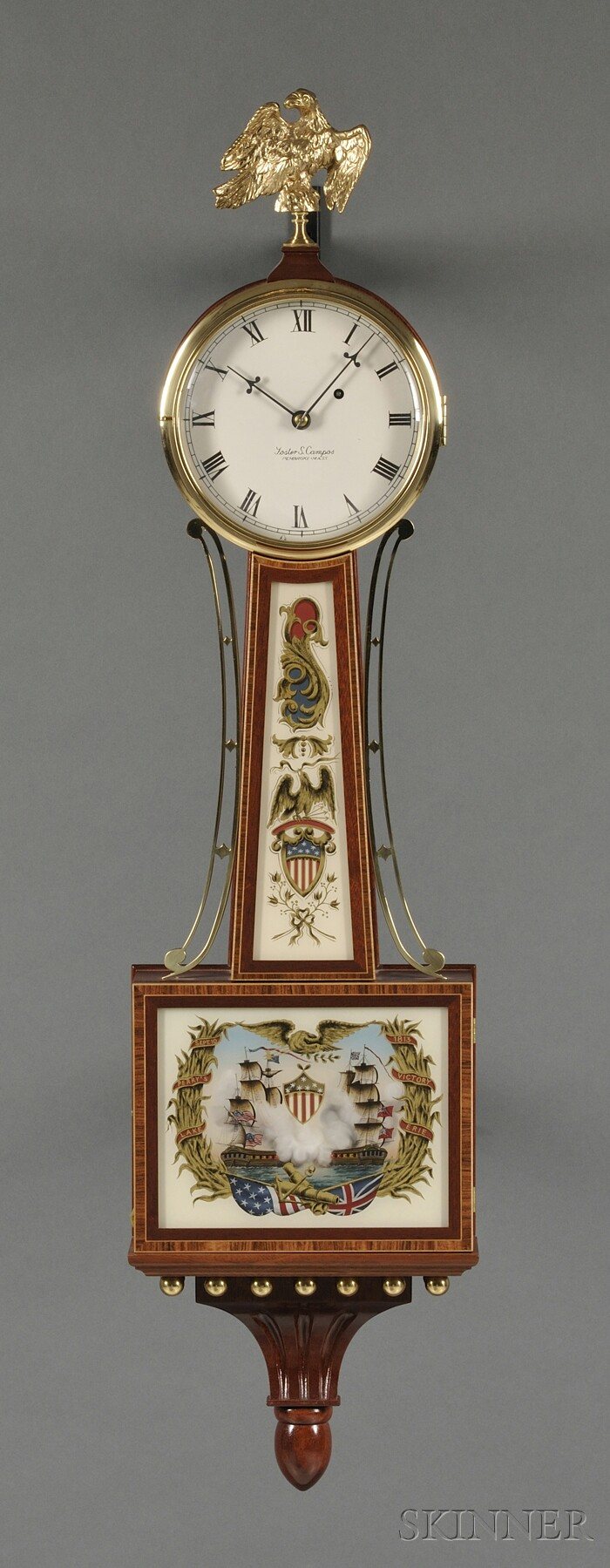 "Foster Campos Mahogany Patent Timepiece or ""Banjo"" Clock"