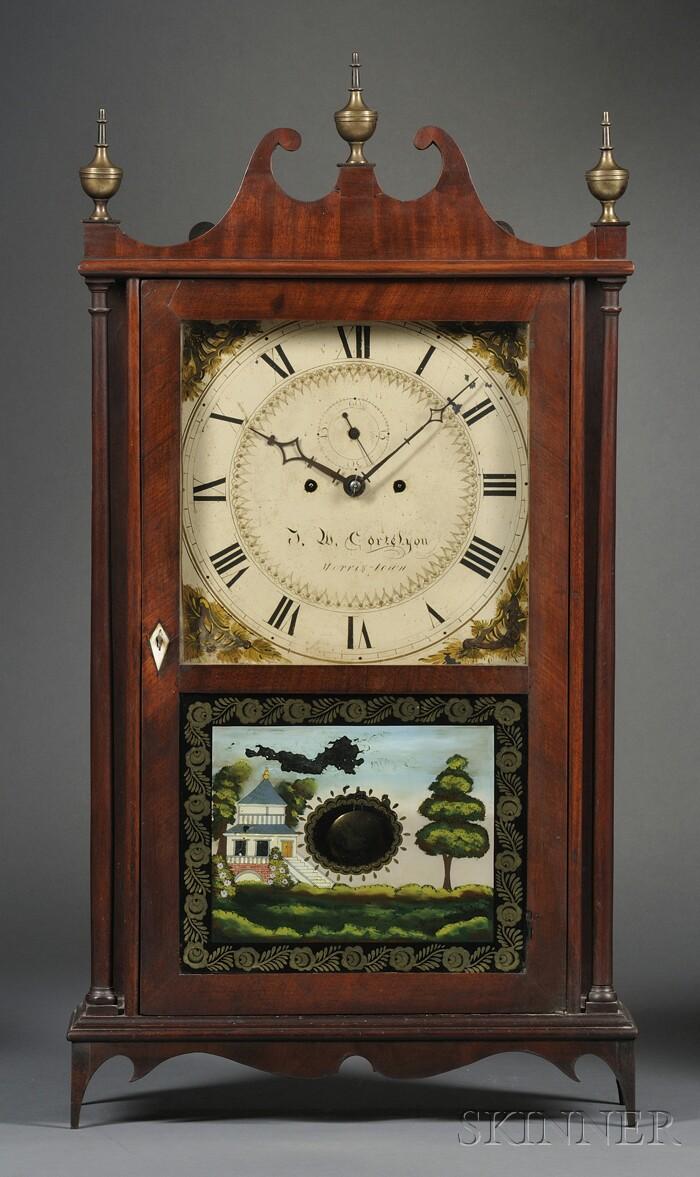 Lucius B. Bradley Mahogany Pillar and Scroll Shelf Clock