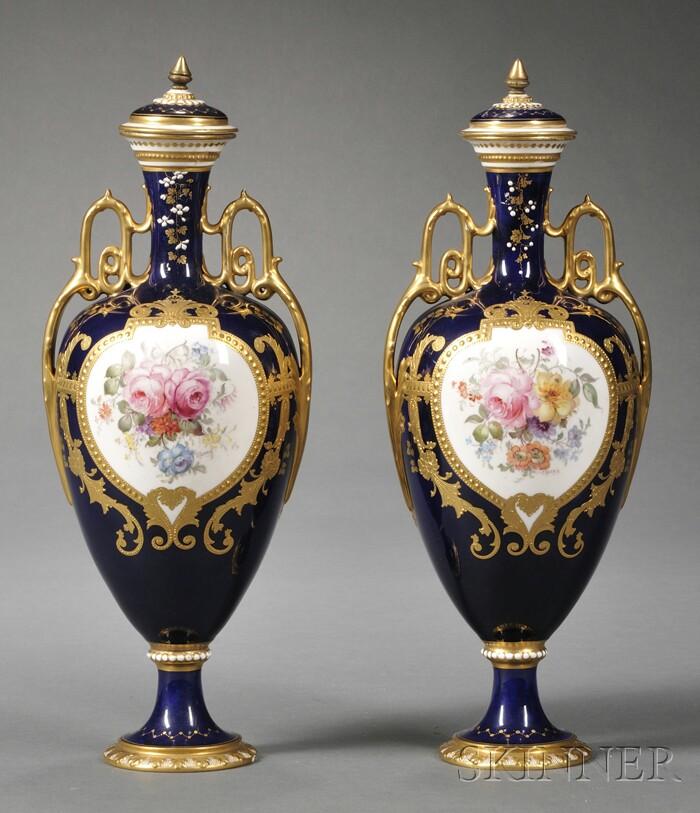 Pair of Royal Crown Derby Cobalt Blue Urns