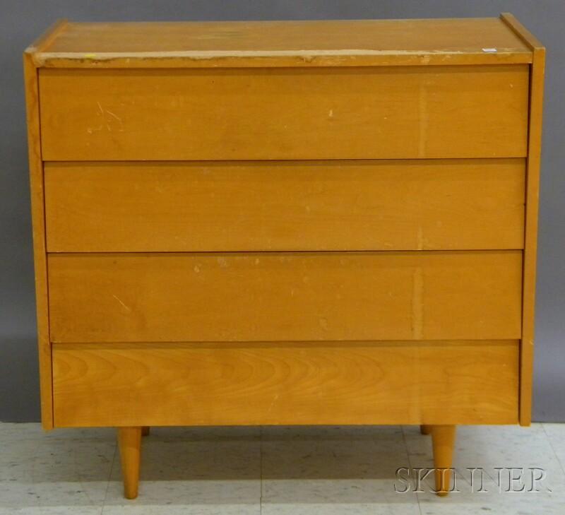 Mid-century Modern Maple Four-drawer Bureau