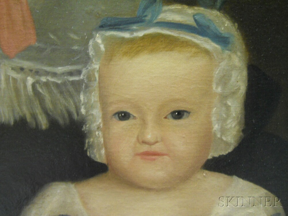 19th Century American School Oil on Canvas Portrait of Angelina Pattison Kirkham and   Baby