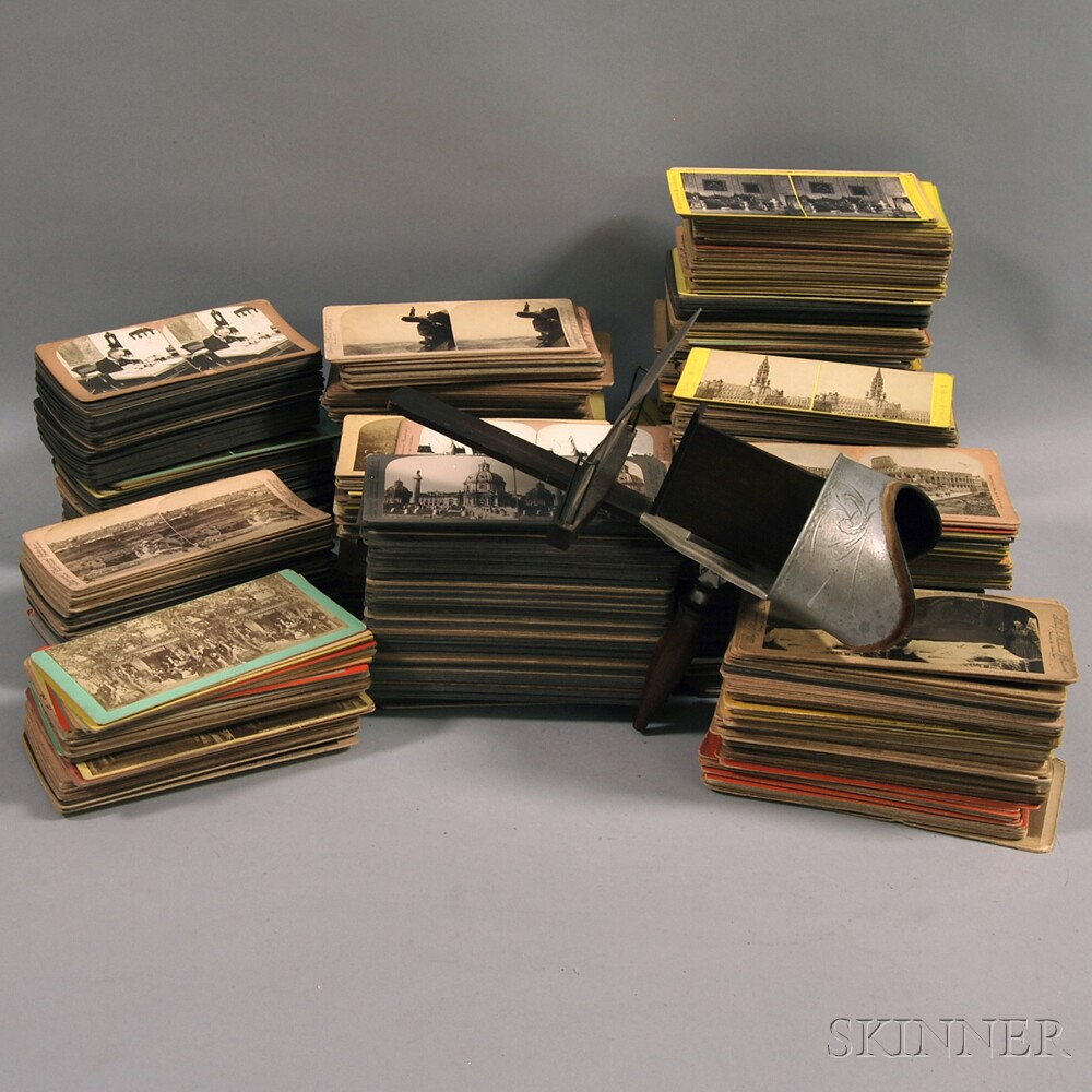 Underwood Stereopticon with a Large Collection of Slides