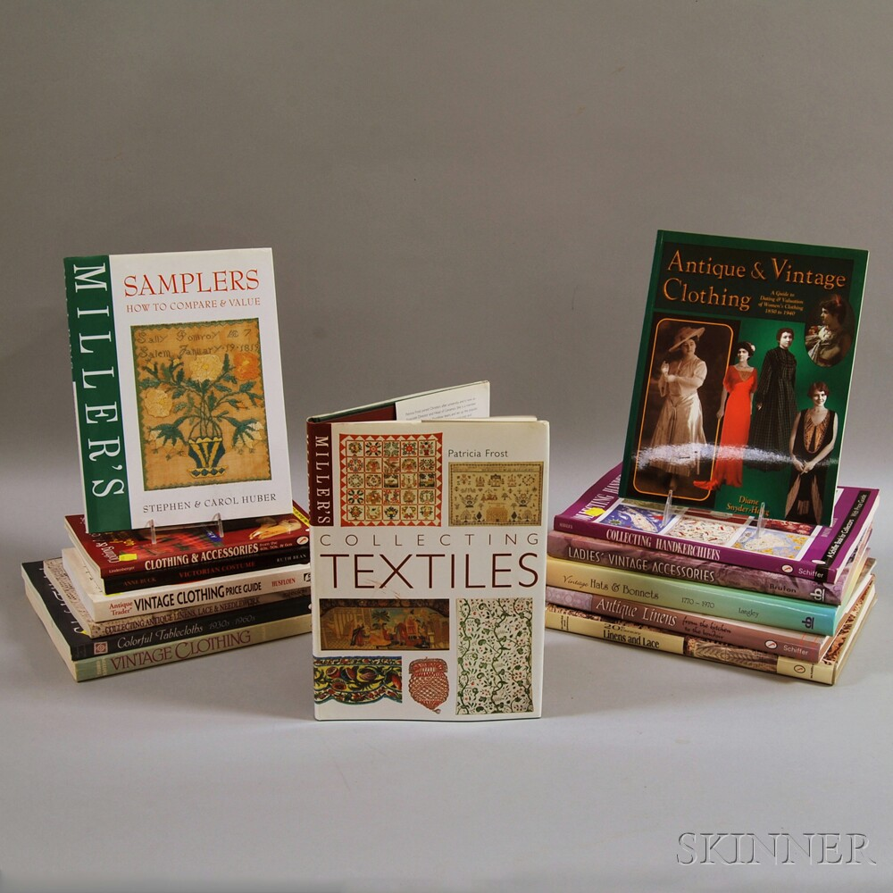 Collection of Reference Volumes on Textiles, Clothing, Antiques, and Collectibles