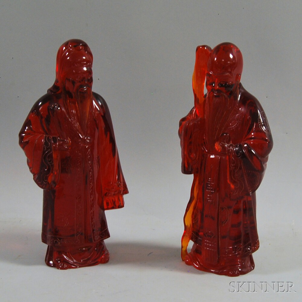 Pair of Chinese Red Resin Figures
