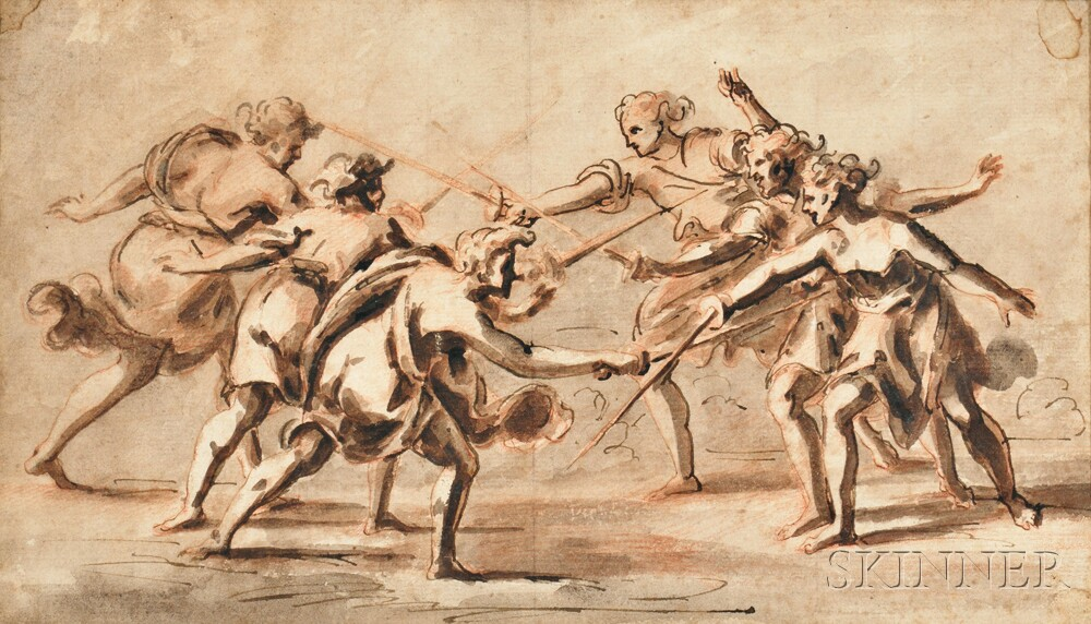 Continental School, 18th Century    Six Figures Fighting with Swords/Possibly the Horatii and the Curiatii