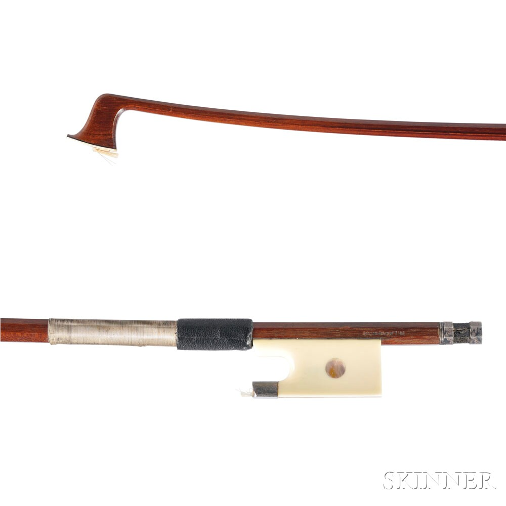 French Silver-mounted Violin Bow, Marcel Lapierre