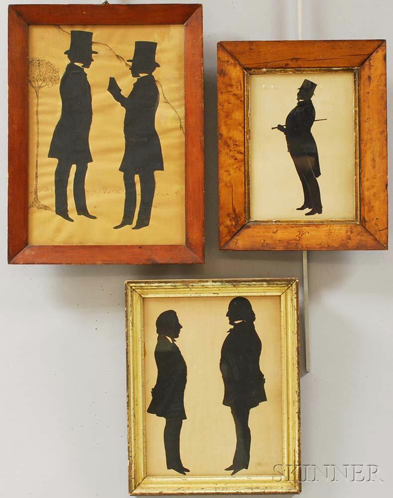 Three Framed Full-length Silhouettes