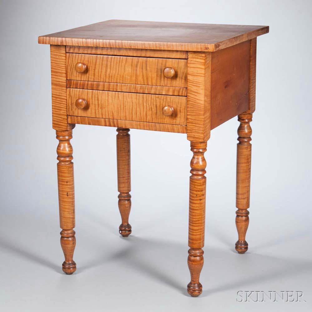 Tiger Maple Two-drawer Stand