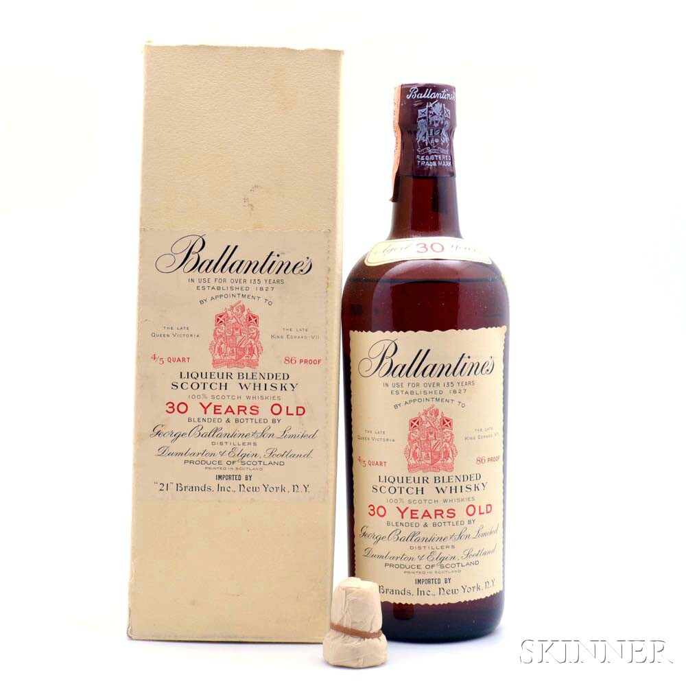 Ballantines 30 Years Old, 1 4/5 quart bottle (oc)