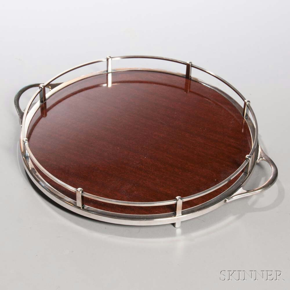 Crescent Silver-plate and Mahogany Cocktail Tray, circular with a silver-plate gallery and two handles, lg. handle to handle 14 3/4 in.