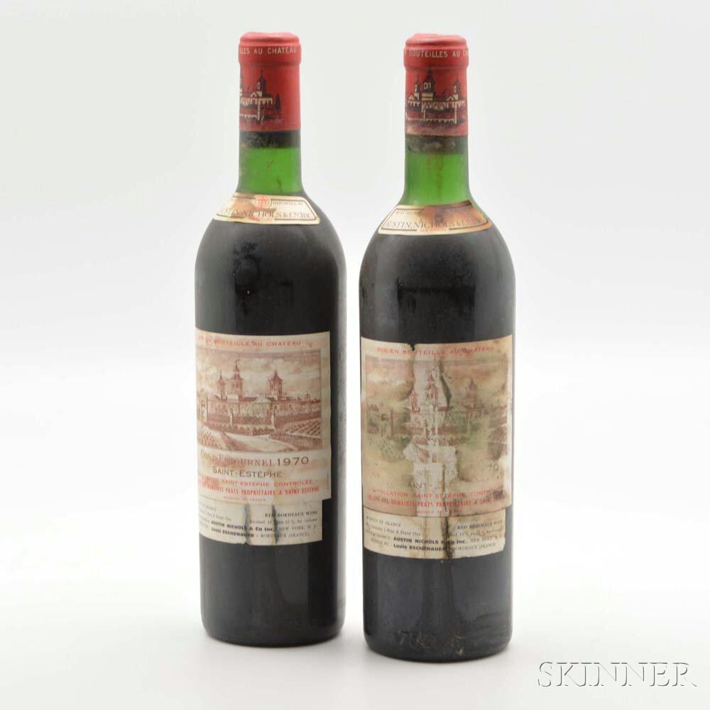 Chateau Cos dEstournel 1970, 2 bottles