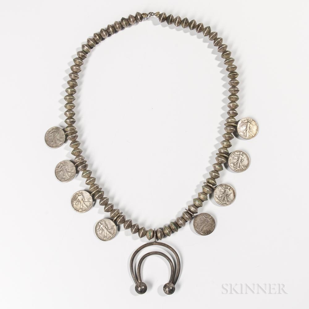 Navajo Mercury Dime and Half Dollar Necklace