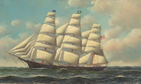 Antonio Nicolo Gasparo Jacobsen (Danish/American, 1850-1921)    Portrait of an American Ship.