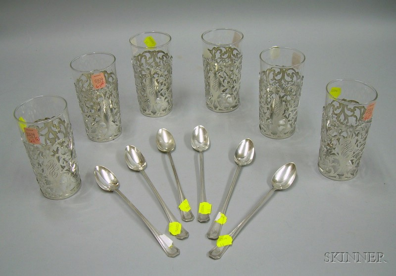 Six Sterling Silver Overlay Colorless Glass Tumblers