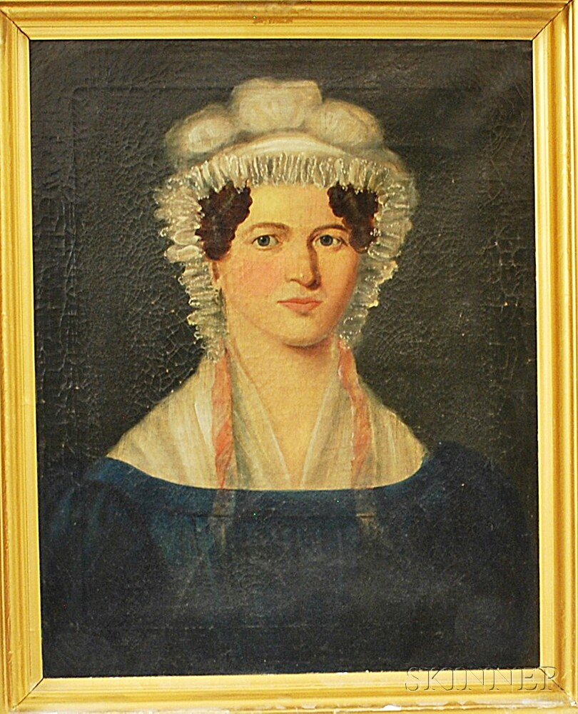 American School, 19th Century       Portrait of a Lady with a Bonnet.