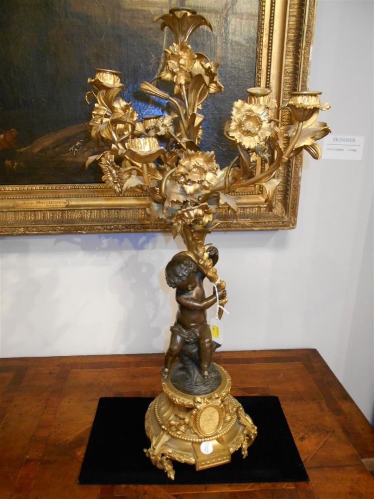 Pair of Louis XV-style Patinated Bronze and Ormolu Candelabra