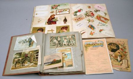 Two Albums of Chromolithograph Trade Cards.