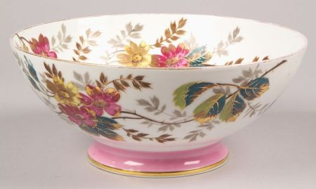 Limoges Hand-painted Floral Decorated Porcelain Footed Punchbowl