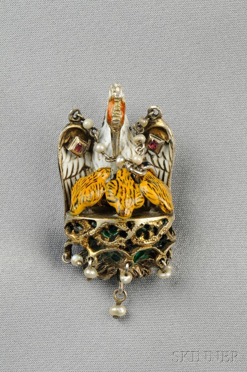 Renaissance Revival Silver and Enamel Pendant
