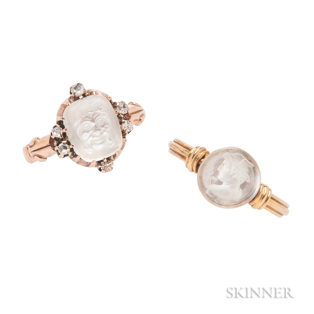 Two Gold and Moonstone Rings