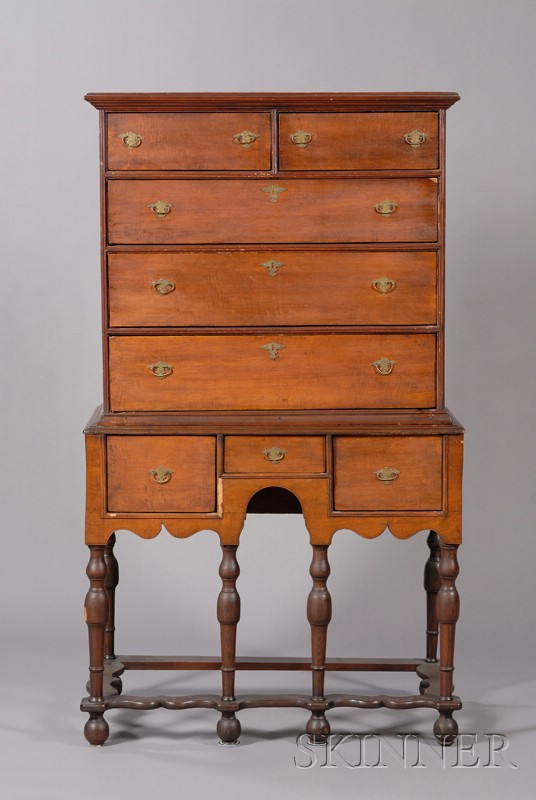 William & Mary Maple High Chest of Drawers