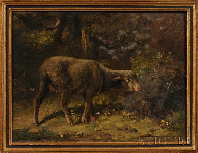 Charles Émile Jacque (French, 1813-1894)      Sheep in a  Forest Landscape