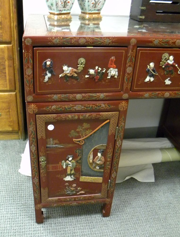 Red Lacquered Chinese Double Pedestal Desk