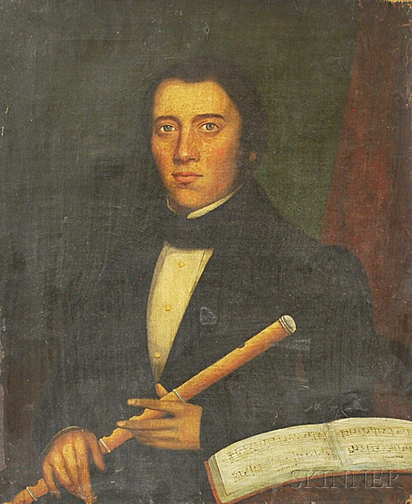 American School, 19th Century       Portrait of a Man with a Flute.