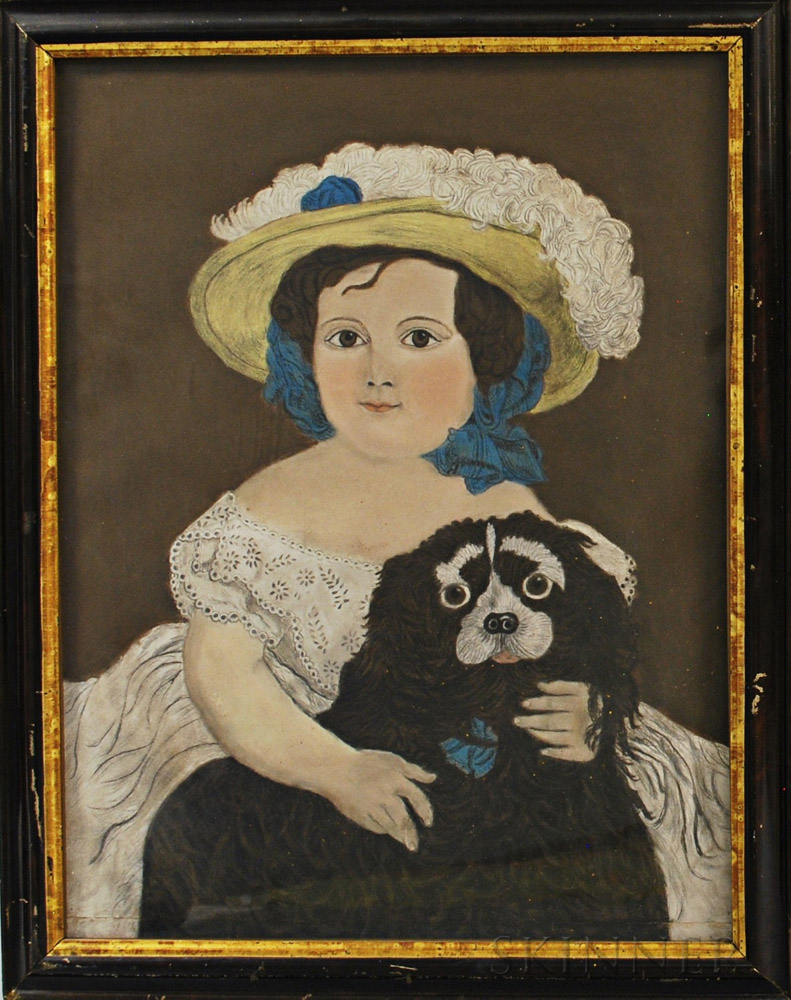 American School, 20th Century       Portrait of a Girl with a Spaniel.