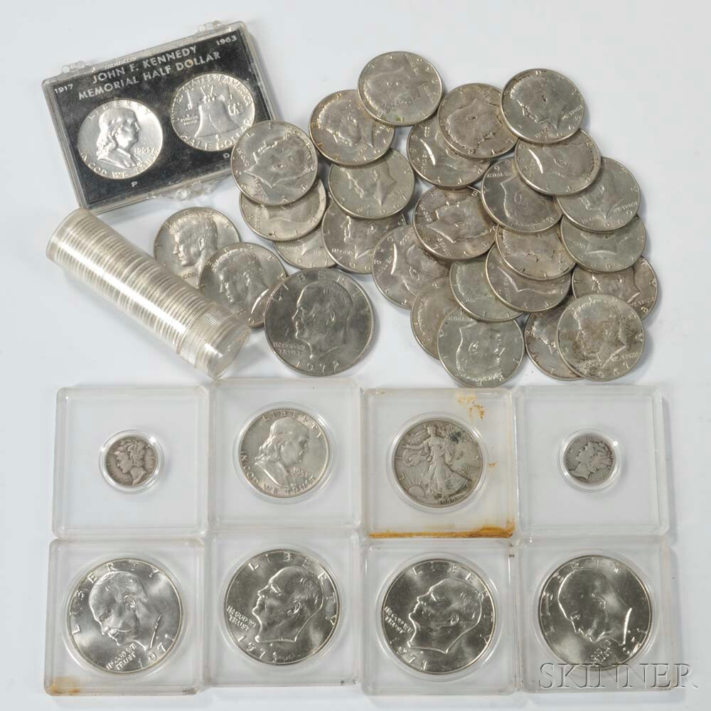 Twenty-six Clad Kennedy Half Dollars, Fifty Pre-1965 Roosevelt Dimes, and Eleven Others