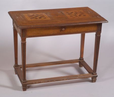 Continental Parquetry Inlaid Walnut Side Table