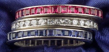 Three 14kt White Gold and Gem-set Eternity Bands