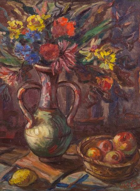 Walt Kuhn (American, 1877-1949)    Still Life with Jug of Flowers