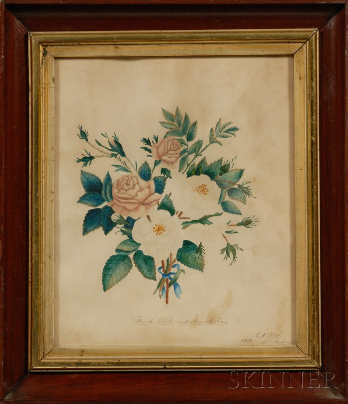 Two Framed Schoolgirl Academy Paintings of Flowers and a Bird