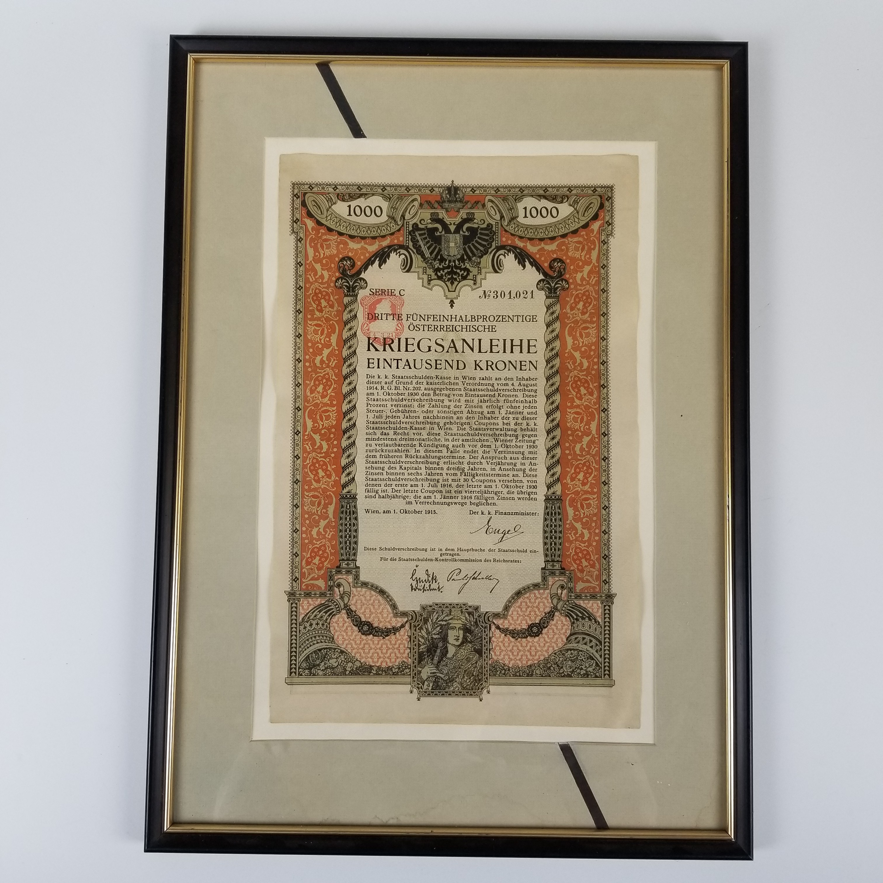 Five Framed Early 20th Century Bonds and Notes