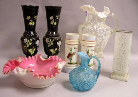Eight Pieces of Victorian Art Glass