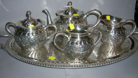 Roger Smith and Co. Four-piece Silver Plated Repousse Tea Set and Associated Silver Plated Handled Serving Tray.