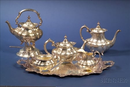 "Five Piece Reed & Barton Sterling ""Hampton Court"" Tea and Coffee Service"
