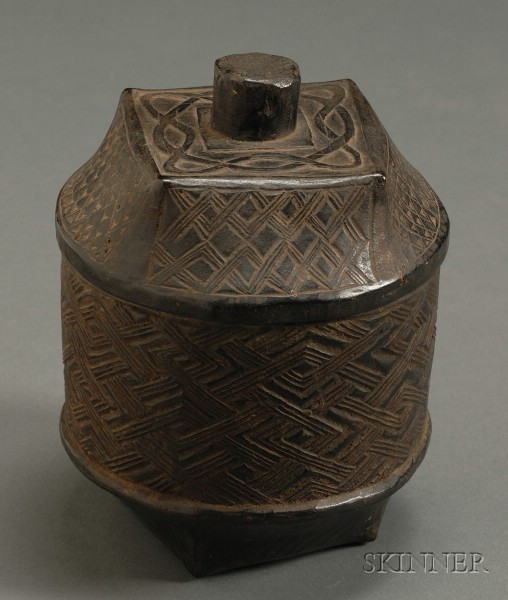 African Carved Lidded Box