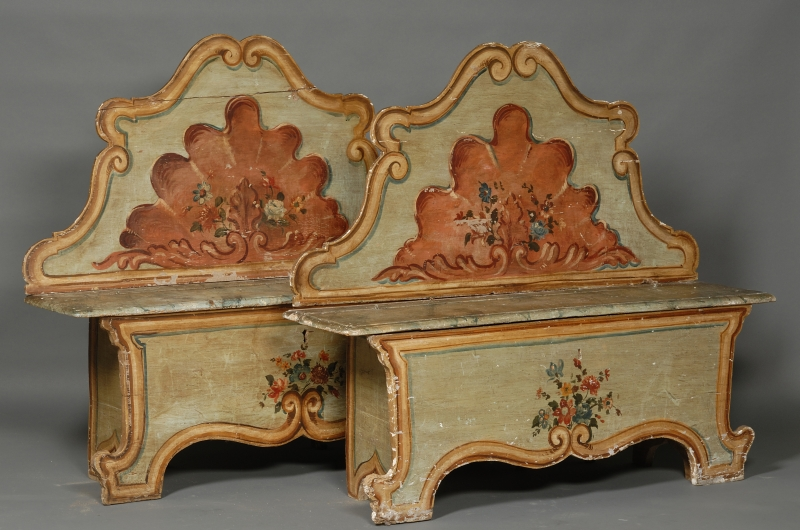 Pair of Italian Polychrome Painted Pine Wooden Highback Banquettes