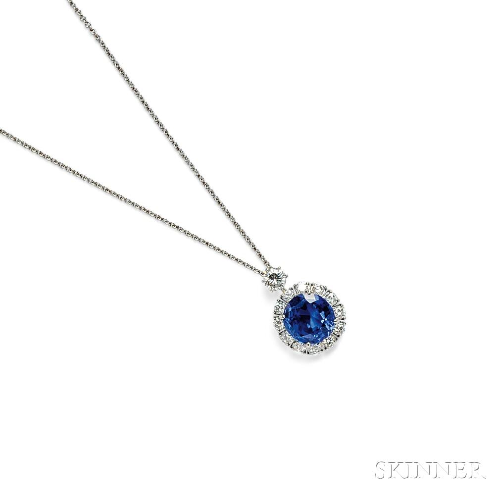 Platinum, Sapphire, and Diamond Pendant