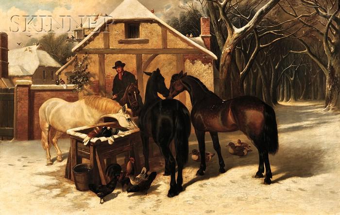 John Frederick Herring, Sr. (British, 1795-1865)      Horses at a Village Watering Trough, Winter