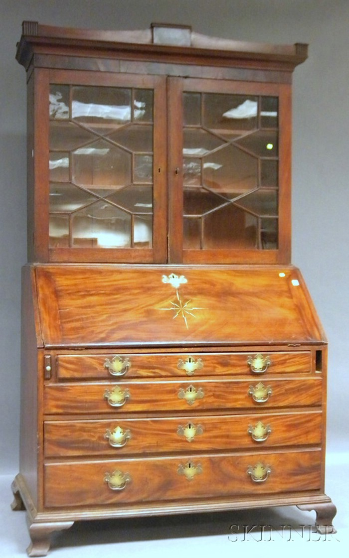 Chippendale Glazed Star-inlaid Mahogany Slant-lid Desk/Bookcase