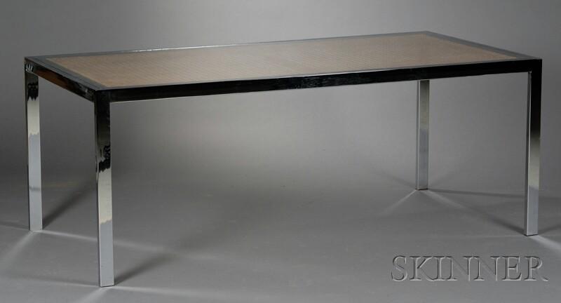 Milo Baughman Glass-top Hardwood and Steel Desk Table