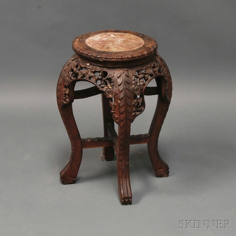 Asian Carved Hardwood Marble-top Stand