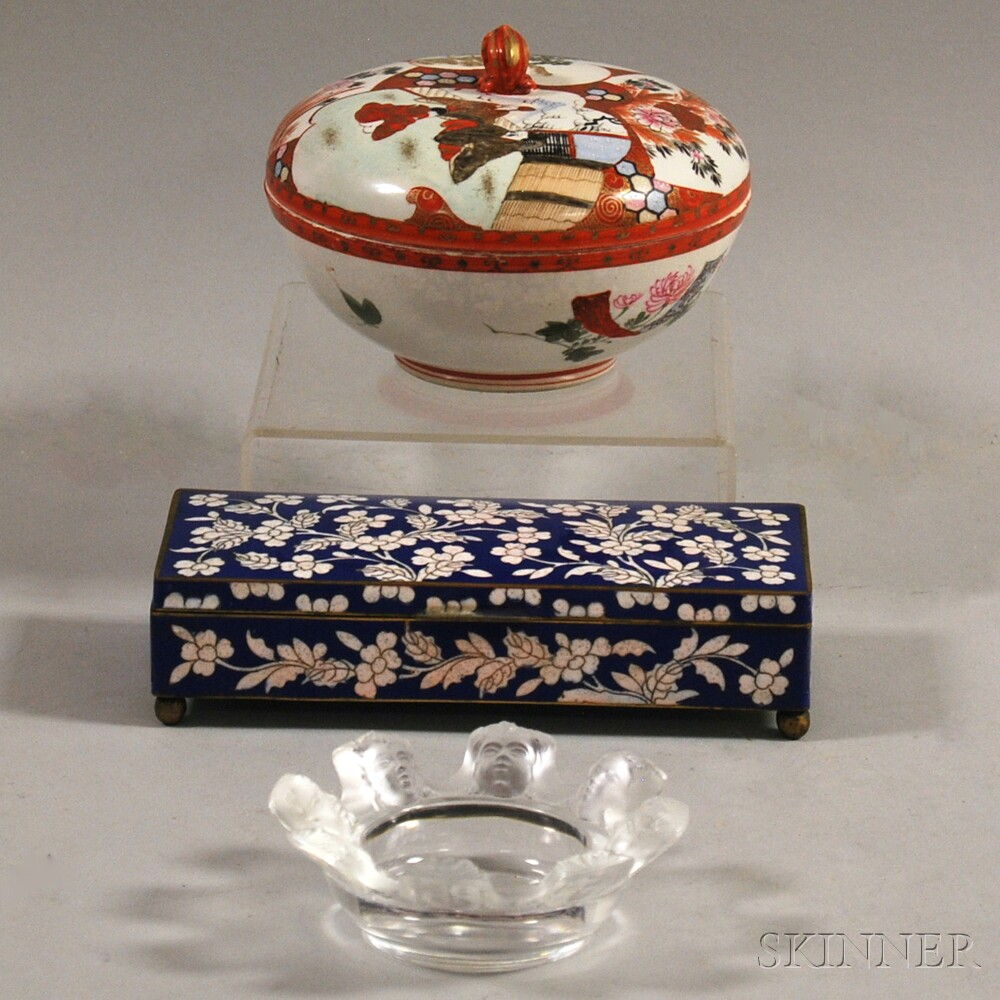 Two Asian Decorative Items and a Lalique Ashtray