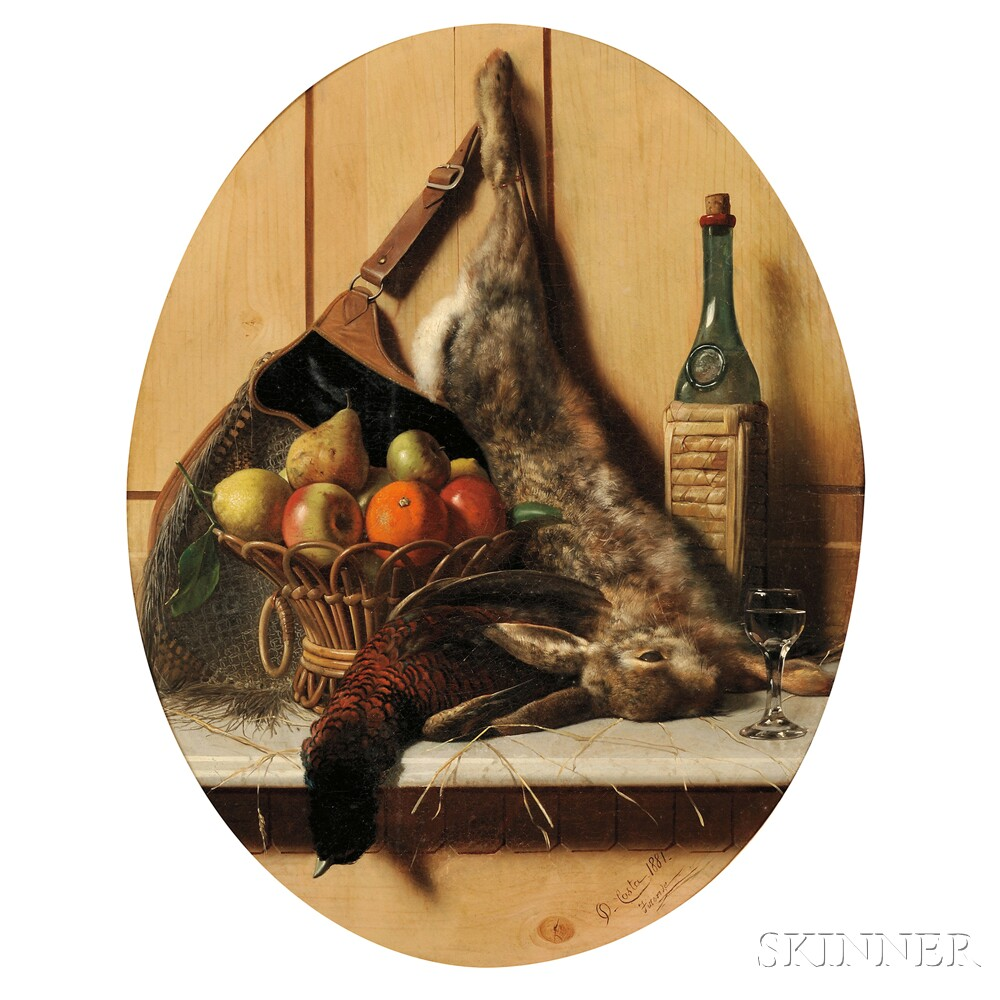 Oreste Costa (Italian, 1851-1901)      Still Life with Game, Fruit, and Wine