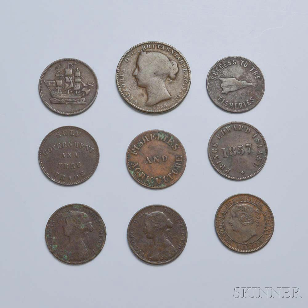 Nine Early Canadian Coins and Tokens