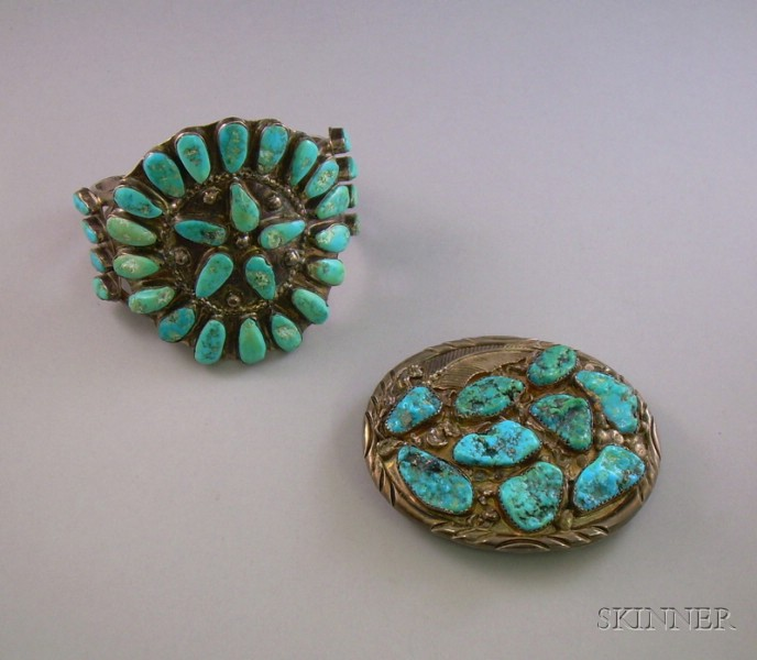 Southwestern Silver and Turquoise Cuff and Belt Buckle