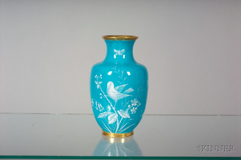 Minton Porcelain Turquoise Blue Ground Vase